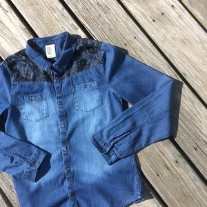 H&M Denim and Lace Girls Long Sleeved Shirt 14